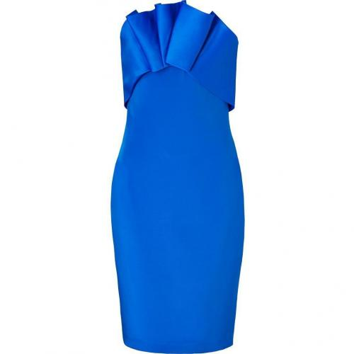 Notte by Marchesa Cobalt Silk-Crepe Embellished Strapless Dress
