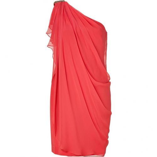 Notte by Marchesa Melon Draped One Shoulder Silk Chiffon Dress