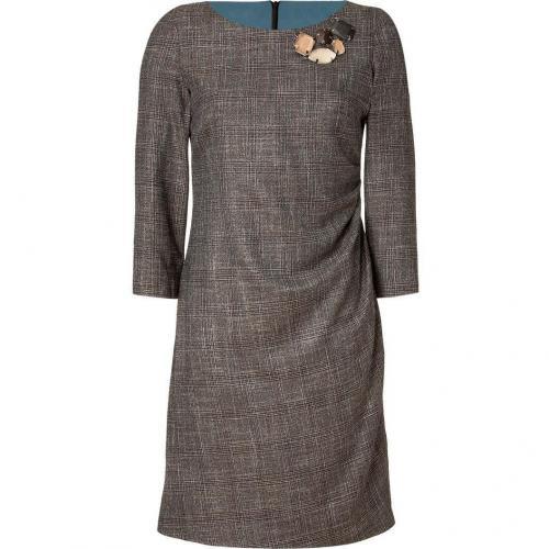 Piazza Sempione Brown Jeweled Check Dress