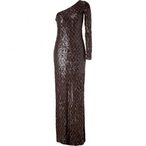 Rachel Zoe Tonal Chocolate Sequined One Shoulder Marilyn Gown