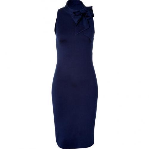 Ralph Lauren Black Navy Merino Wool Tie Neck Dress