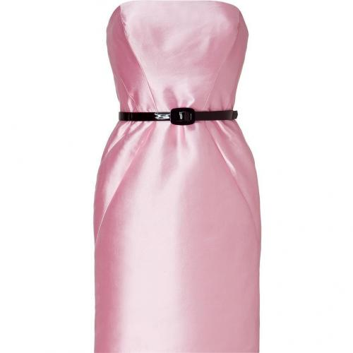Ralph Lauren Black Peony Pink Structured Shine Blend Emmaline Dress