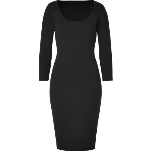 Ralph Lauren Collection Black Merino Lycra Scoopneck Dress