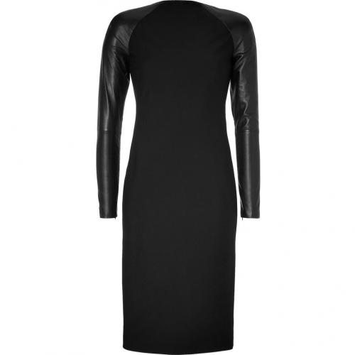Ralph Lauren Collection Black Wool-Crepe Megan Dress with Leather Sleeves