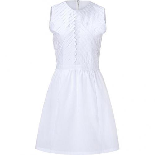 Raoul Optic White Pleat Detailed Cotton Dress