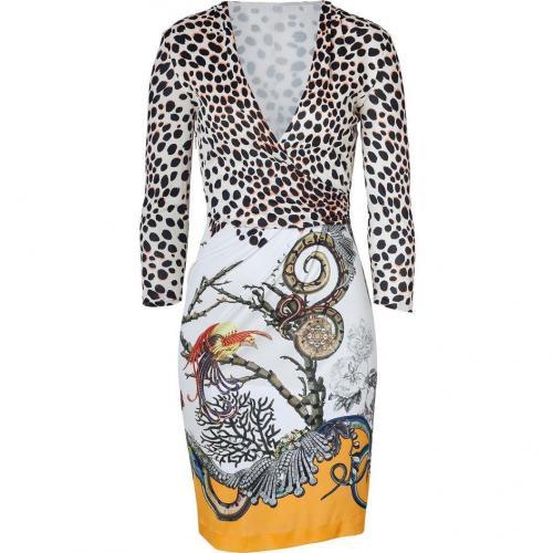 Roberto Cavalli Beige/Papaya Snake and Leo Print Dress