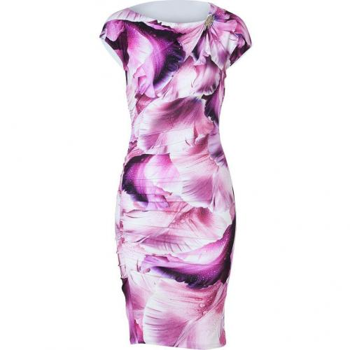 Roberto Cavalli Dew Drop Orchid Print Dress with Brooch