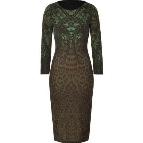 Roberto Cavalli Olive Snake Ciaguar Dress