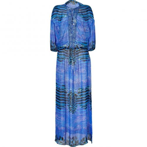 Roberto Cavalli Peacock Printed Silk Gown