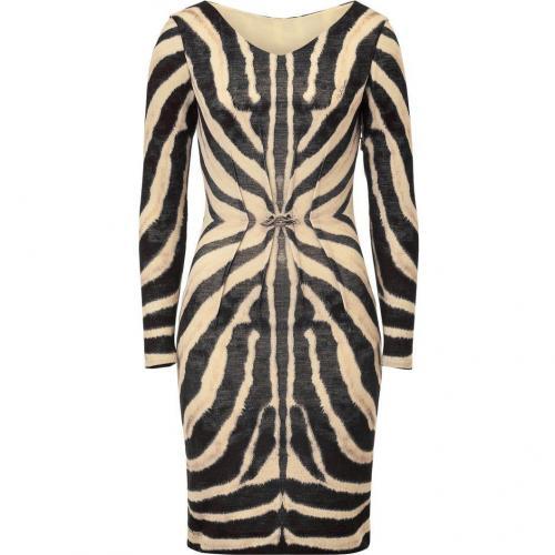 Roberto Cavalli Zebra Printed Draped Wool Blend Dress