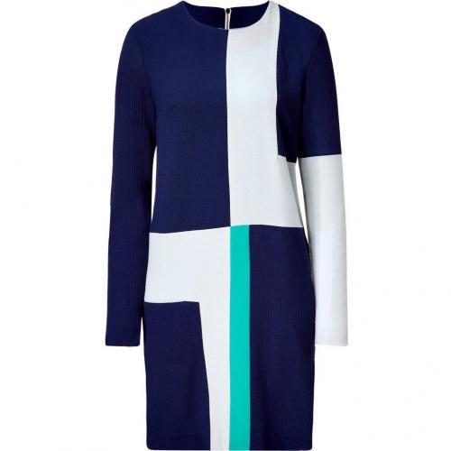 Roksanda Ilincic Navy and Jade Colorblock Wool Crepe Dress