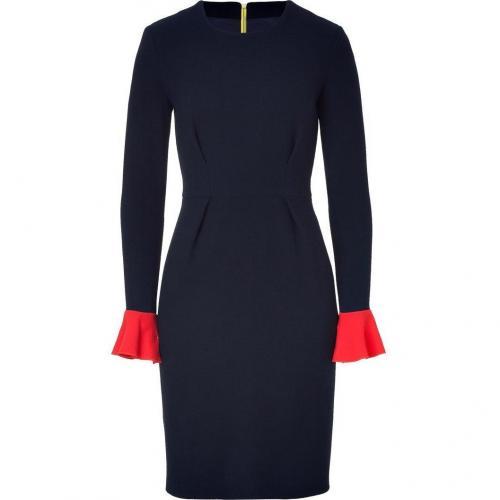 Roksanda Ilincic Navy/Red Colorblock Wool Crepe Dress