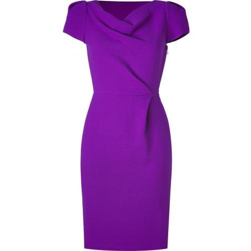 Roksanda Ilincic Purple Cowl Neck Wool Crepe Dress