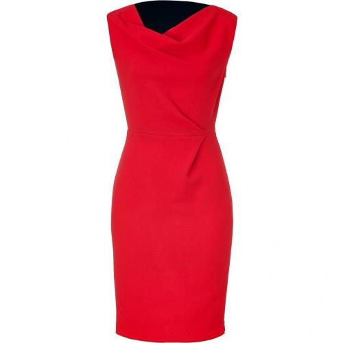 Roksanda Ilincic Red/Navy Colorblocked Wool Crepe Dress
