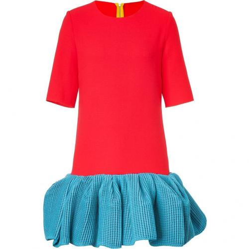 Roksanda Ilincic Red/Ocean Blue Bi-Fabric Dress