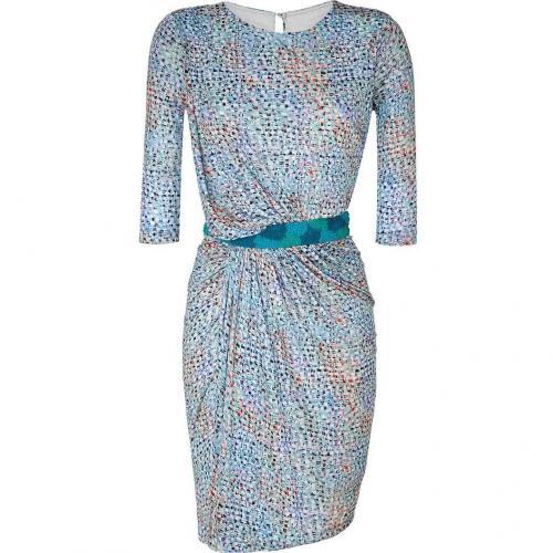 Saloni Azure Blue Mosaic Print Dress