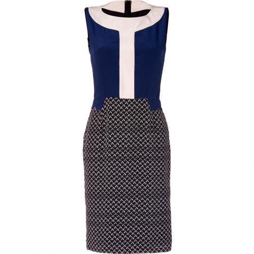 Saloni Navy/Bone Arrow Print Silk Colette Sheath Dress
