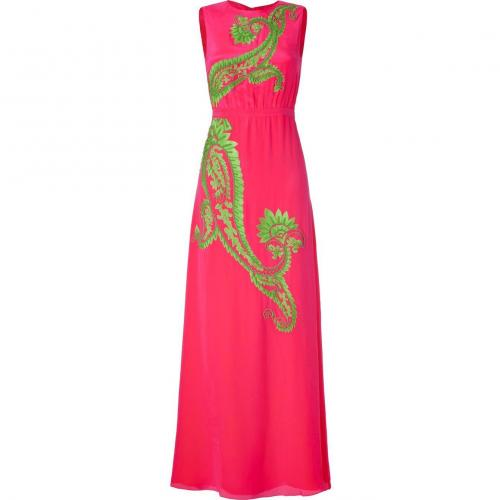 Saloni Neon Pink/Lime Green Embroidered Silk Dress