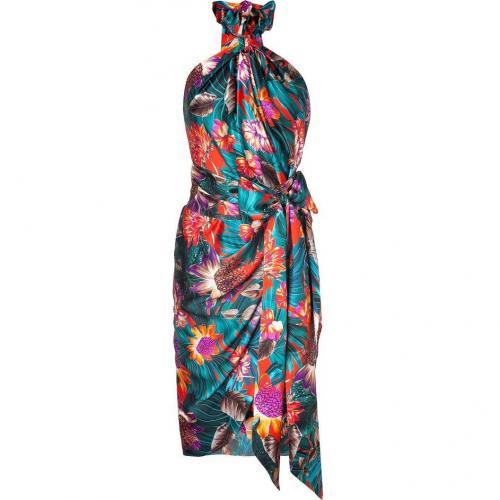 Salvatore Ferragamo Multicolor Floral Print Wrap Dress