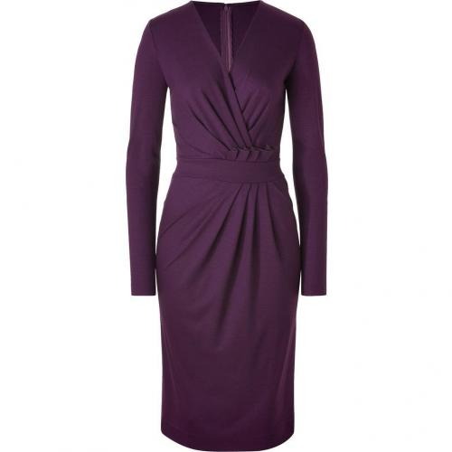 Salvatore Ferragamo Plum Draped Wool Jersey Dress