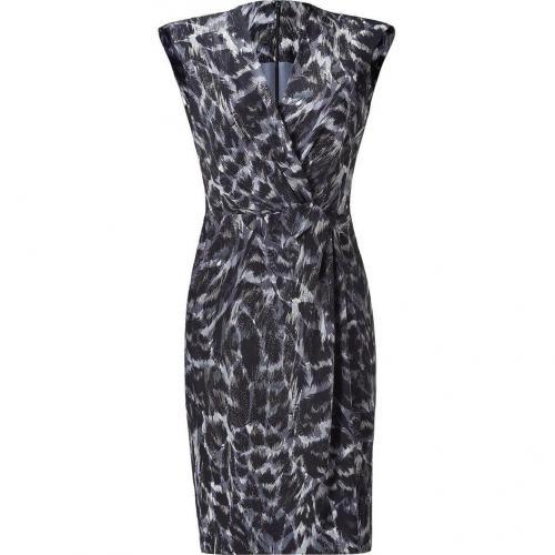 Salvatore Ferragamo Steel Blue Twist Front Silk Dress