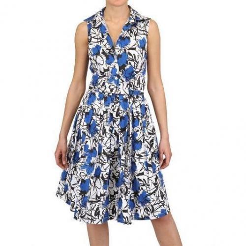 Samantha Sung Baumwoll Stretch Kleid Schulterfrei Blau
