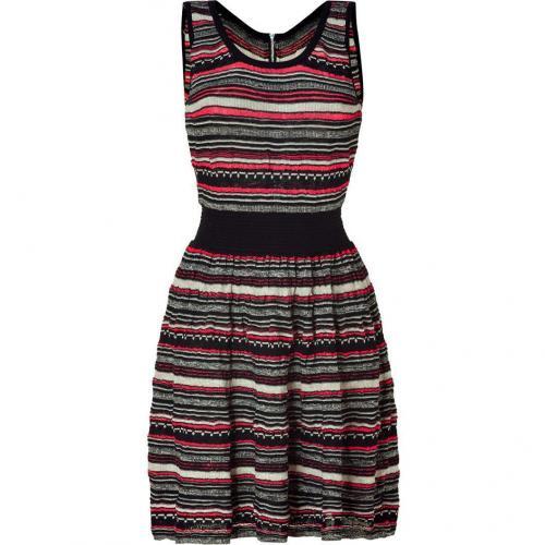 Sandro Black&Beige&Neon Striped Knit Dress