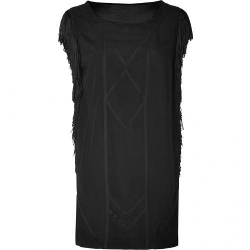 Sandro Black Luxus Ethno Style Fringed Dress