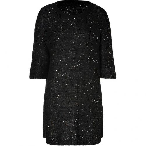Sandro Black Sequined Knit Dress