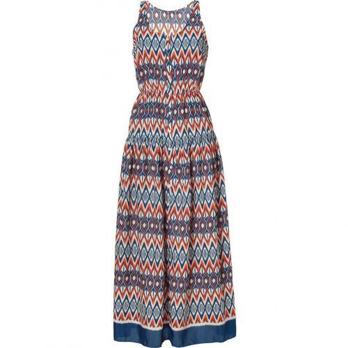 Sandro Orange and Blue Tribal Printed Dress