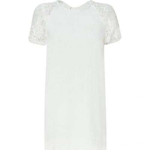 Sandro Pearl Dress with Lace Sleeves