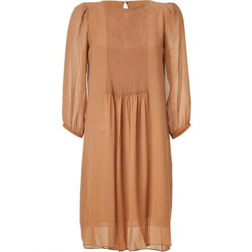 Schumacher Soft Copper 3/4 Sleeve Sheer Silk Dress