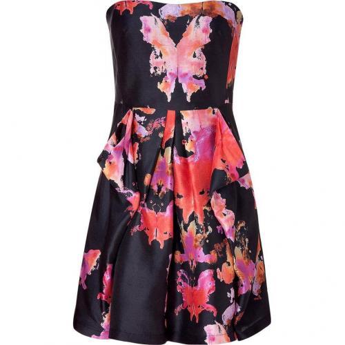 See by Chloé Black Floral Print Silk Kleid