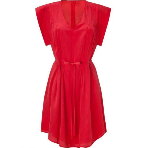 See by Chloé Chili Red Belted Silk Kleid