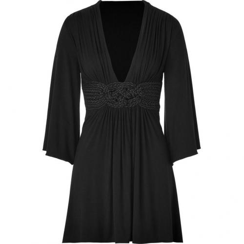 Sky Black Jersey Dress with Woven Sash Detail