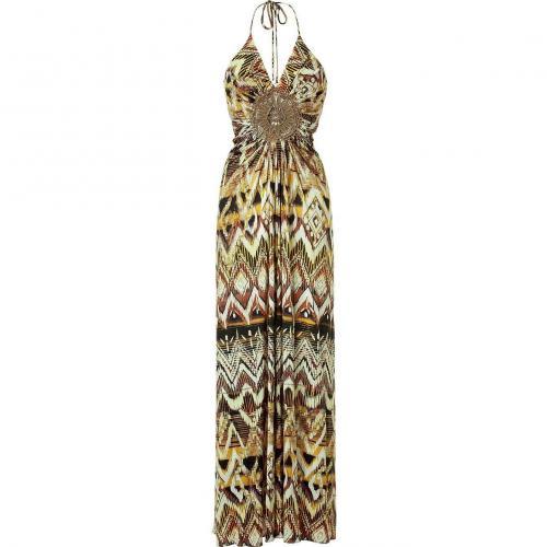 Sky Tan V-Neck Long Dress with Neck Holder