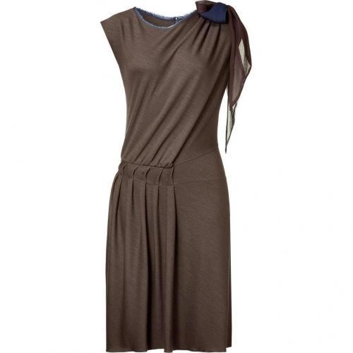 Sophie Theallet Ebony/Blue Bow Embellished Jersey Dress