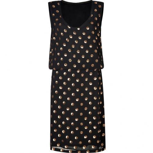 Suno Black Sequined Polka Dot Silk Dress