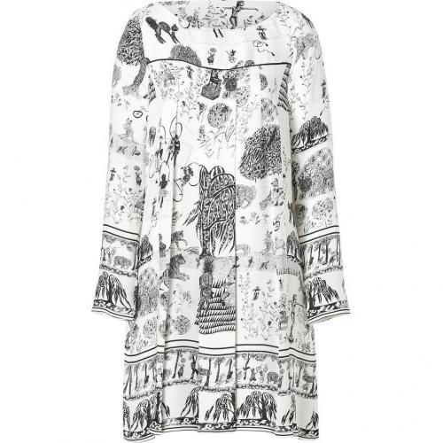 Suno Ivory/Black Sketch Print Long Sleeve Pleated Front Silk Dress