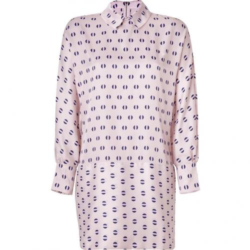 Suno Pale Lilac Polka Dot Baggy Dolman Collared Dress