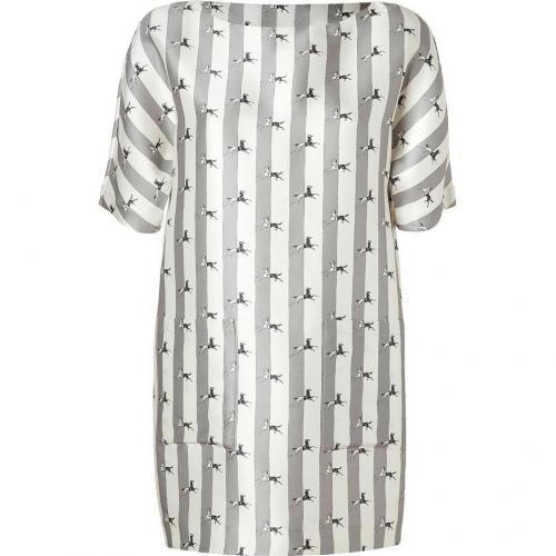 Suno Pearl/Grey Striped Silk-Wool Shift Dress