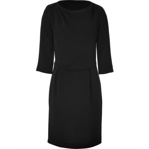 Tara Jarmon Black Draped 3/4 Sleeve Dress