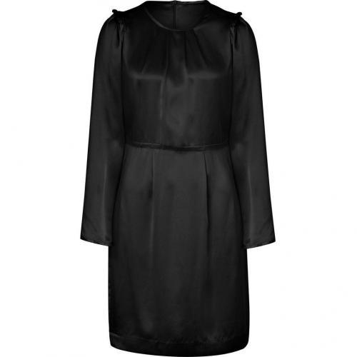 Tara Jarmon Black Draped Silk Dress