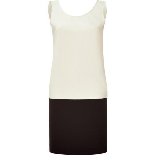 Tara Jarmon Ecru & Black Color Blocking Dress