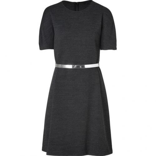Tara Jarmon Grey Heather Belted A-Line Dress