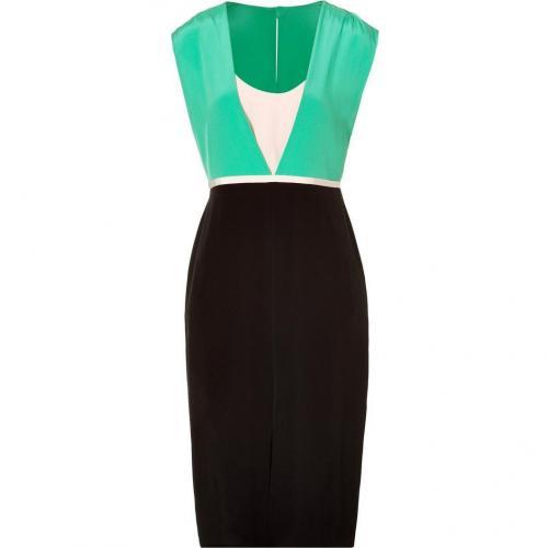 Tibi Black and Mint Color Block Silk Dress