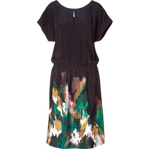 Tibi Black/Green Printed Silk Dress
