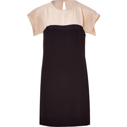 Tibi Blush & Black Color Blocking Silk Dress