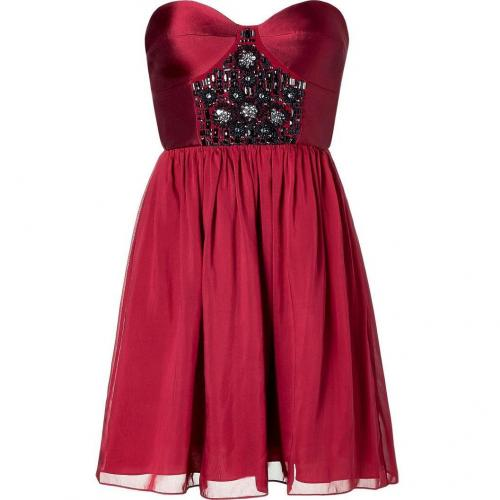 Tibi Red Sigfried Beading Strapless Dress