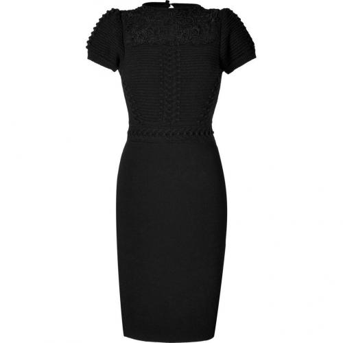 Valentino Black Wool-Cashmere Textural Knit Sheath Dress